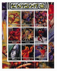 Superheroes Knights on Stamps - 9 Stamp Mint Sheet