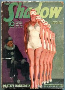 The Shadow Pulp May 1 1939- Death's Harlequin- Skull GGA cover g/vg