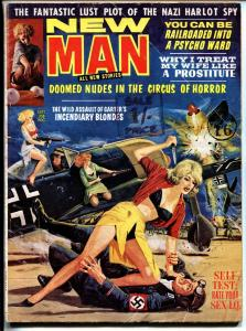 New Man 3/1963-Nazi stabbed by babe on cover-Weird Menace