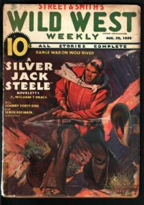 WILD WEST WEEKLY 8/29/1936-WESTERN PULP-SENOR RED MASK VG+