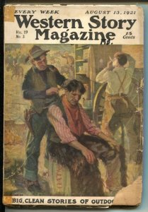 Western Story 8/13/1921-early pulp format issue-Max Brand-B.M. Bower-Custer-G-