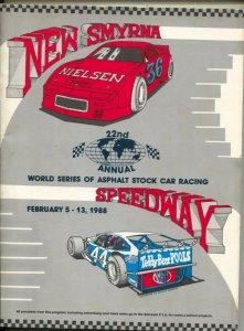 New Smyrna Speedway World Series of Asphalt Auto Race Program 2/1988-ASA-ARTG...