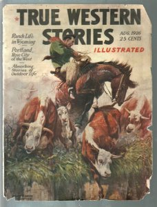 True Western Stories 8/1926-final issue-Deadwood Dick-rare pulp survivor-FR