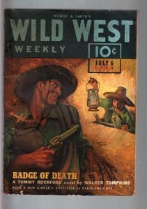 WILD WEST WEEKLY 7/6/1940-WESTERN PULP-TOMMY ROCKFORD FN-