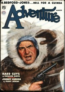 ADVENTURE--MARCH 1937- COVER BY William LUBEROFF--H BEDFORD-JONES--PERRY ADAM...