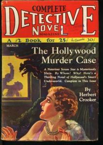 COMPLETE DETECTIVE NOVEL 1930 MAR-HOLLYWOOD MURDER CASE VG