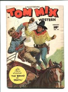 TOM MIX #14-1949-2 MEN FIGHTS ON HORSE CARRIAGE VG