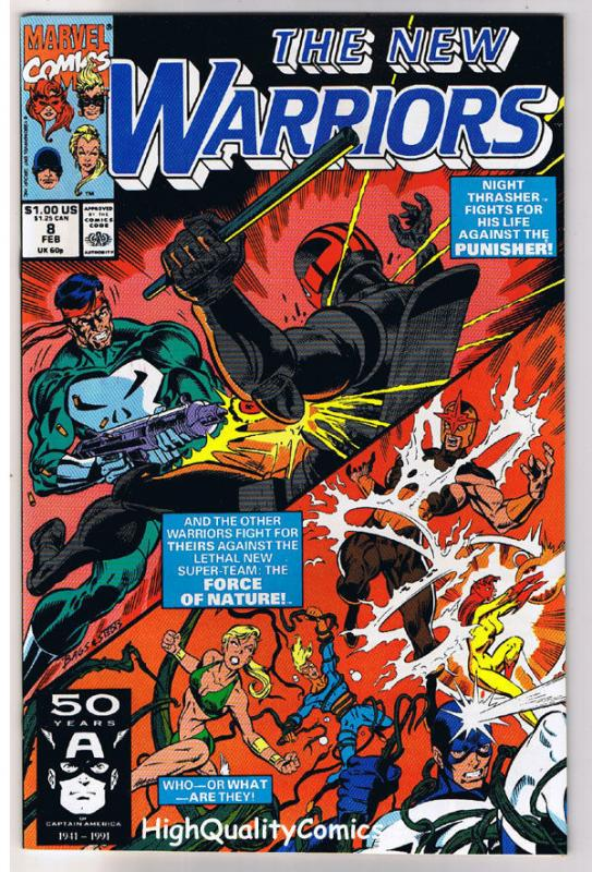NEW WARRIORS 8, NM+, Punisher, Nova, Night Thrasher, 1990, more Marvel in store