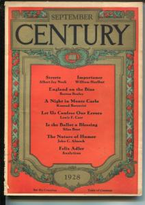 Century Illustrated Monthly Magazine 9/1928-pulp thrills-Monte Carlo-G/VG