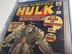 Incredible Hulk # 1 CGC Graded 2.0 Marvel Comic Book Blue Label Marvel KEY WT99