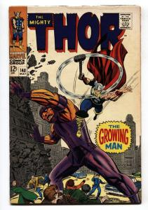 Thor #140 1967 comic book- Marvel Silver Age- Growing Man VG