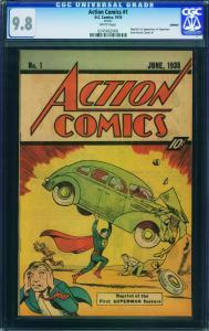Action #1 1976 cgc Graded 9.8--1st Superman-rare Reprint 0245662006