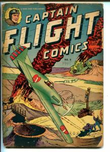 CAPT FLIGHT #6 1945-FOUR STAR-HOODED VILLAINS-BOUND BABE-WWII-BLACK COBRA-good