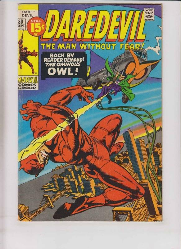 Daredevil #80 FN gerry conway - gene colan - the owl - bronze age marvel 1971