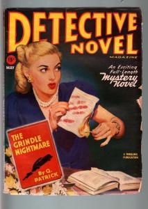 DETECTIVE NOVEL MAY 1947-BLONDE BABE COVER-HARD BOILED PULP VIOLENCE FN