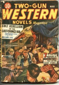 TWO-GUN WESTERN NOVELS-MAY 1943-GUNFIGHT CARD GAME COVER-PULP VIOLENCE