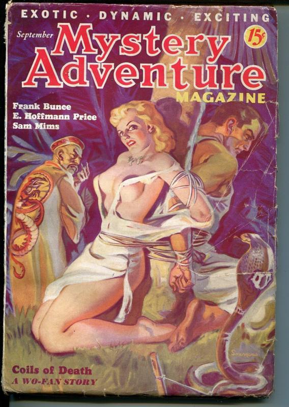 Mystery Adventure-9/1936-Norman Saunders-bondage/snake torture-Wo-Fan-pulp-VG