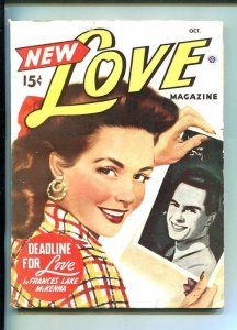 NEW LOVE-OCT 1947-ROMANTIC PULP FICTION-CLASSIC PIN-UP GIRL COVER-vg/fn