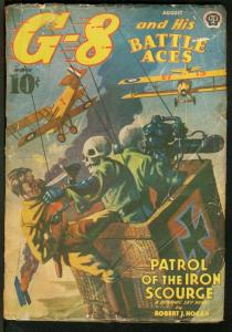 G-8 AND HIS BATTLE ACES 1939 AUG-BLOODY SKULL COVER G/VG