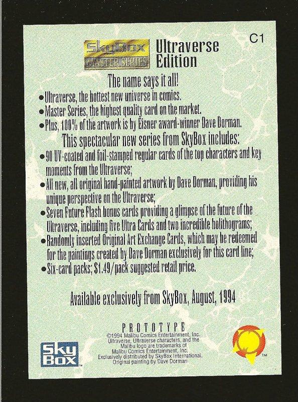 Skybox Ultraverse Edition C1 SLUDGE 1994 Prototype Card