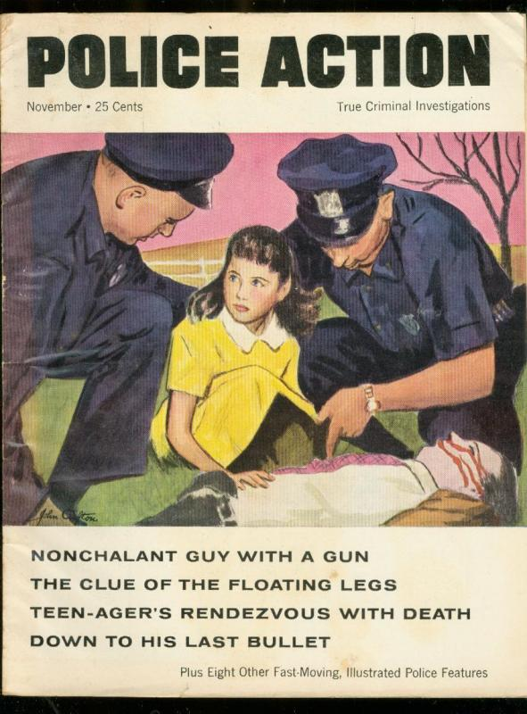 POLICE ACTION #1 1957-DETECTIVE CRIME MURDER MAGAZINE FN