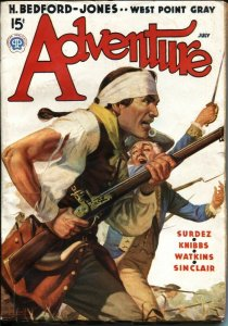 ADVENTURE JULY 1937-REVOLUTIONARY WAR COVER BY WILLIAM LUBEROFF---H BEDFORD-J...