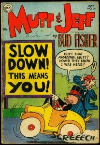 Mutt & Jeff #74 1954- Bud Fisher- Congo Bill #2 ad- DC Comics G