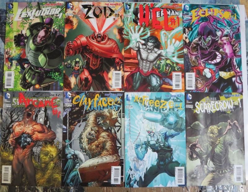 DC New 52 Villains Lot of 8Diff Lex Luthor Zod Eclipso Scarecrow Mr. Freeze++