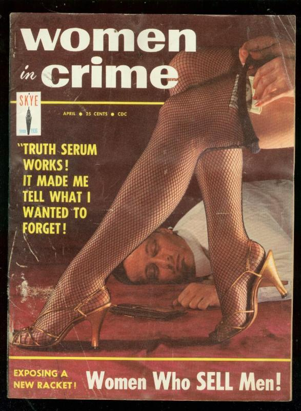 WOMEN IN CRIME APRIL 1958-STOCKING COVER-ANTWERP--PULP VG