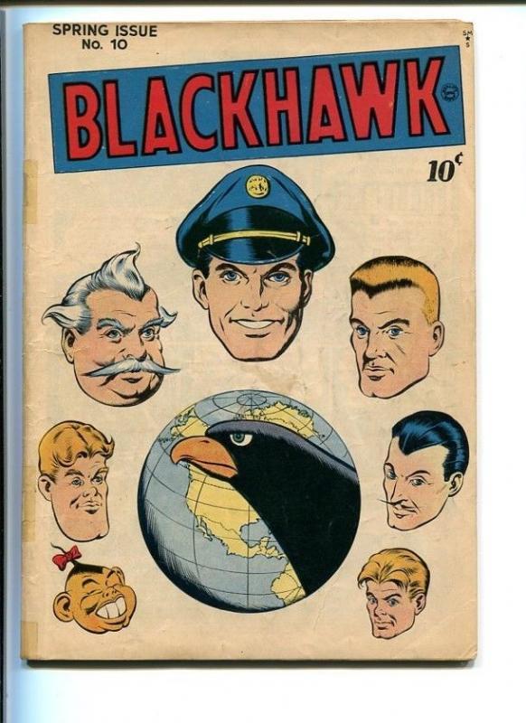 BLACKHAWK COMICS #10-QUALITY-1946-REED CRANDALL ART-GLOBE COVER-SECOND ISSUE VG