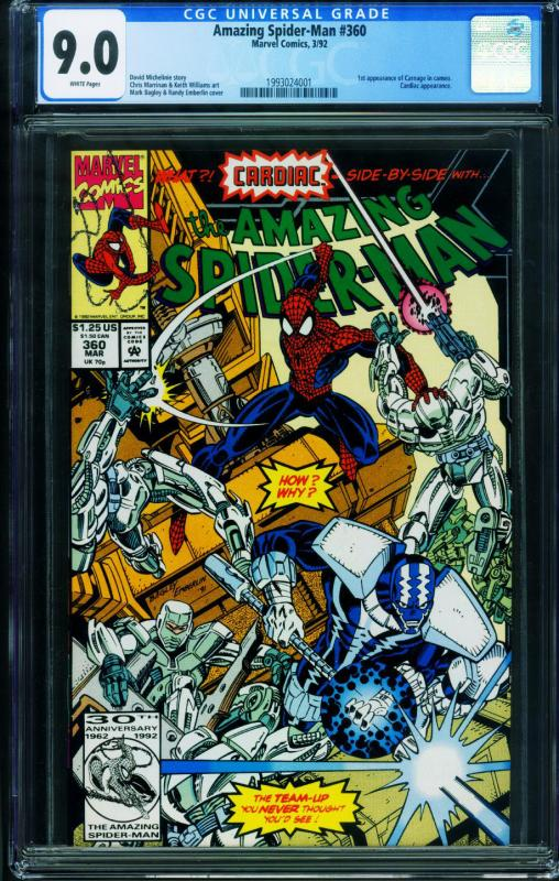 Amazing Spider-Man #360 CGC 9.0 First Carnage MARVEL 1993024001