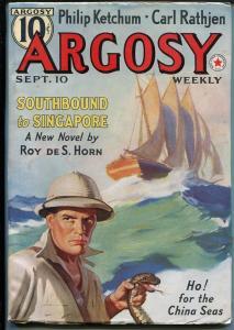 Argosy-9/10/1938-Munsey-snake cover-G J Rozen-pulp fiction-VF+