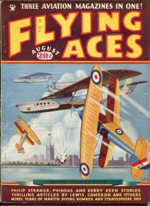 Flying Aces 8/1935- bedsheet edition-WWI aviation pulp thrills-rare-VG/FN