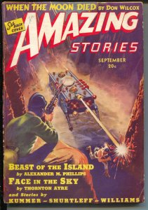 Amazing Stories 9/1939-futuristic tank cover-pulp thrills-pre WWII-G