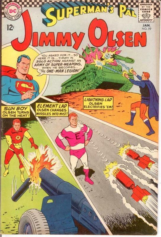 JIMMY OLSEN 99 VG-F LEGION CAMEO Jan. 1967 COMICS BOOK