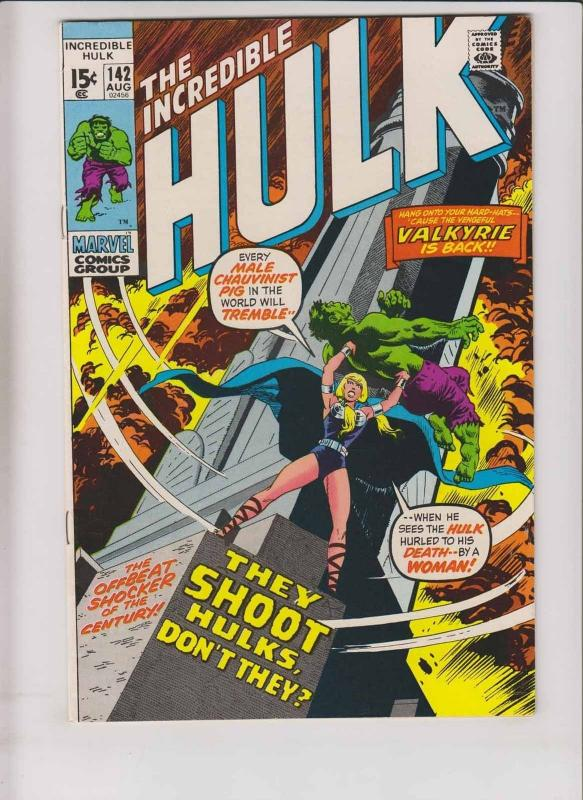 Incredible Hulk #142 VF- roy thomas - herb trimpe -1st valkyrie - august 1971
