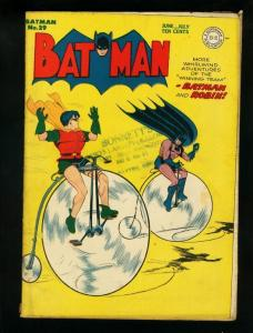 BATMAN #29-1945--DC COMICS-ROBIN--BICYCLE COVER-RARE! VG