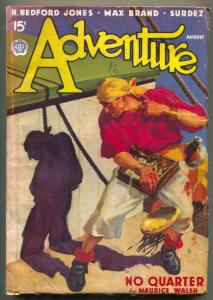 Adventure Pulp August 1937- No Quarter- Hanging cover