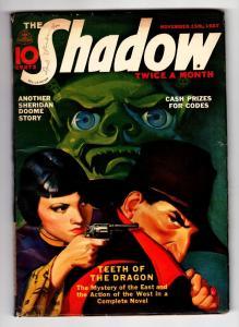 SHADOW 1937 Nov 15 -High Grade- STREET AND SMITH-RARE PULP FN+