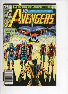 AVENGERS #217, VF, Captain America, Thor, Iron Man, 1963 1982, Marvel, UPC