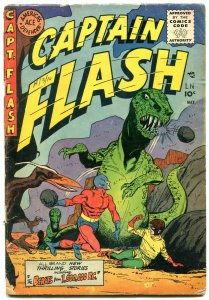 Captain Flash #3 1955- Dinosaur cover- Tomboy- Sharkmen VG-