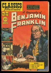 CLASSICS ILLUSTRATED #65 HRN 64-BENJAMIN FRANKLIN BIO- FN
