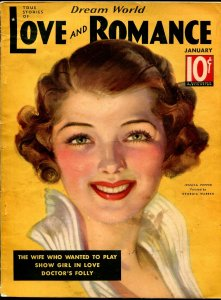 Dream World Love and Romance 1/1936-pin-up girl cover-Gloria Warren-spicy-VG