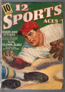 12 Sports Aces  5/1940-pulp fiction-baseball-golf-tennis-VG