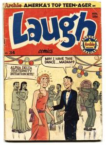 LAUGH #34-1949-ARCHIE IN DRAG-KATY KEEN-wild cover!