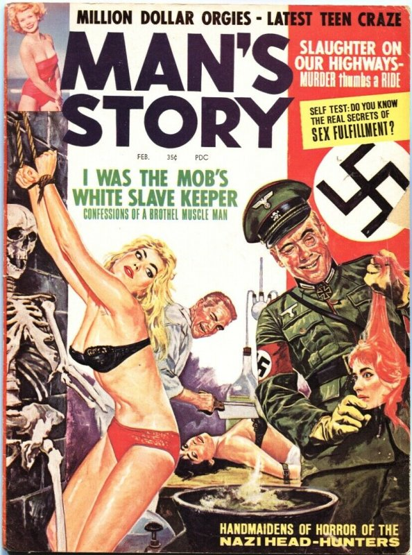 MAN'S STORY-FEB 1964--DECAPITATION TORTURE COVER-CHEESECAKE-PULP FICTION