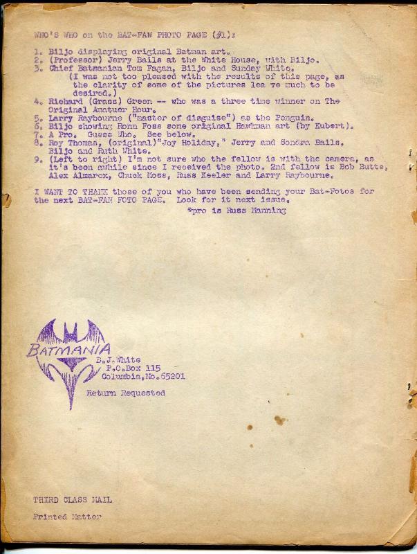 Batmania #12 1966-Batman fanzine-info-buy & sell ads-limited printing-G/VG