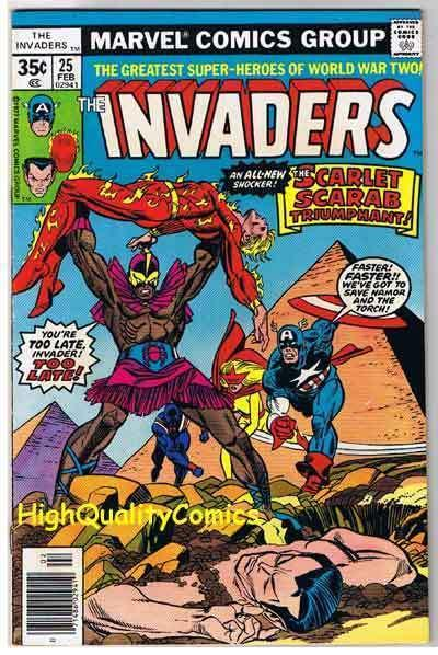 INVADERS #25, FN/VF, Captain America, Sub-Mariner, Torch, 1975