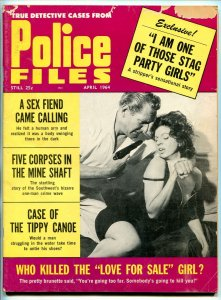 Police Files Magazine April 1964 Tippy Canoe- Stag Party Girls VG