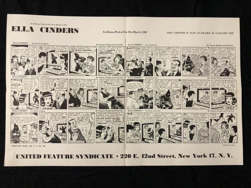 Ella Cinders Newspaper Comic Dailies Proof Sheet 2/26/1951